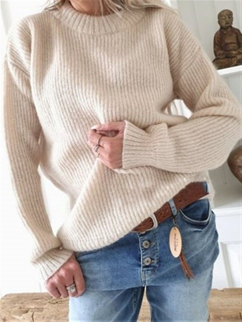 Autumn Casual Basic Daily Knitted Sweater
