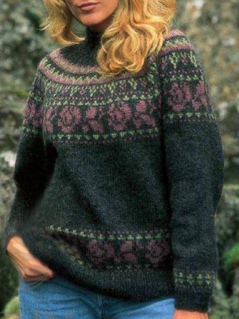 Color-Block Long Sleeve Geometric Sweater