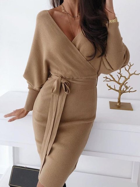 V Neck Brown Women Dresses Daily Acrylic Paneled Dresses