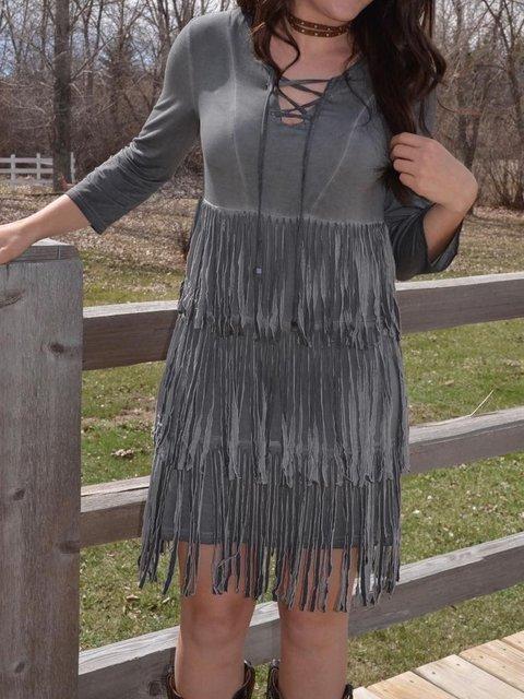 Faux Leather Tassel Long Sleeve Dress