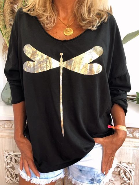 Casual Plus Size Long Sleeve Tee Shirts Tops Tunic