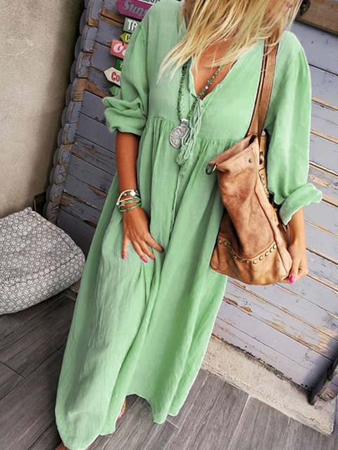 V Neck Solid Long Sleeve Cotton-Blend Dresses