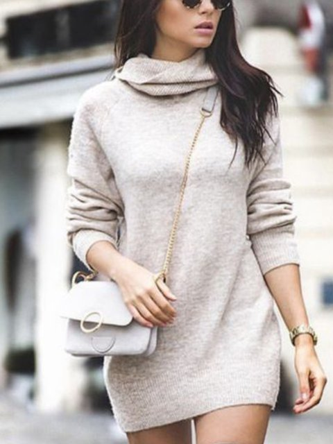 Solid Long Sleeve Casual Turtleneck Tops