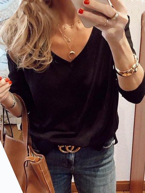 Black Cotton-Blend Long Sleeve Shirts & Tops