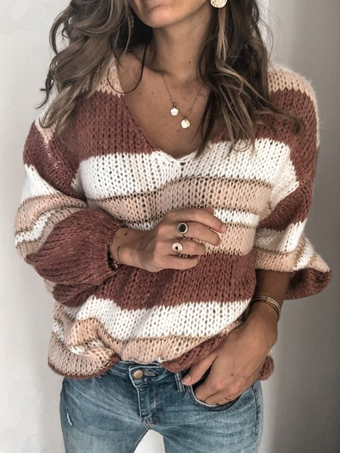 V Neck Color-Block Long Sleeve Sweater