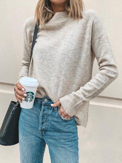 Women Casual Turtleneck Pullover Tops Beige