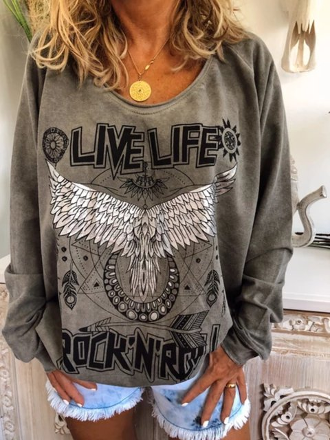 Casual Plus Long Sleeve Printed T Shirt Tops Tunic