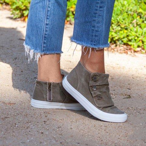 Women Comfy Button High Top Sneaker Shoes