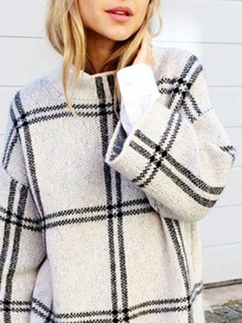 White Shift Long Sleeve Knitted Sweater
