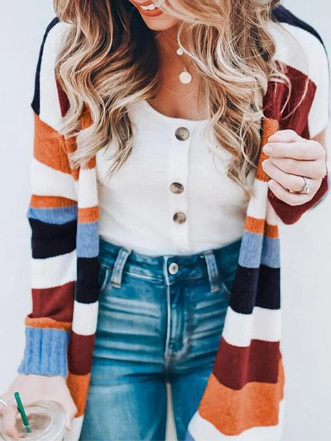 Multicolor Striped Long Sleeve Outerwear