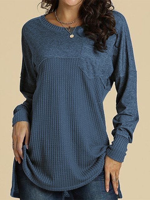 Women Casual Solid Round Neck Tops