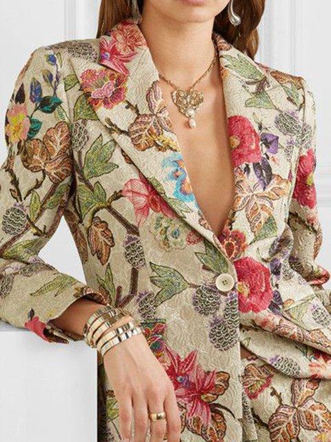 Khaki Casual Cotton-Blend Floral Outerwear