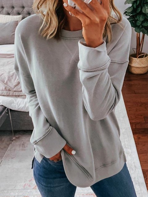 Gray Solid Crew Neck Long Sleeve Shirts & Tops