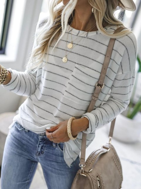 Spring White Pockets Long Sleeve Cotton-Blend Striped Plus Size Shirts & Tops
