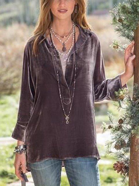 Coffee Long Sleeve Velvet Plain Shirts & Tops