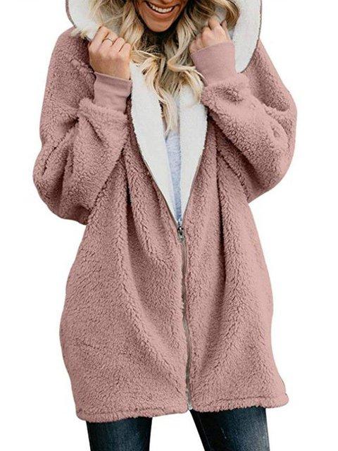 Zipper Solid Sweet Long Sleeve Hoodie & Coat