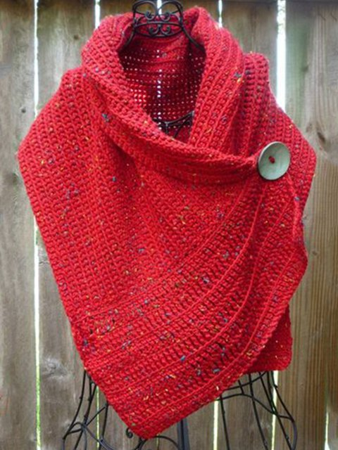 Red Sleeveless Knitted Solid Scarves & Shawls