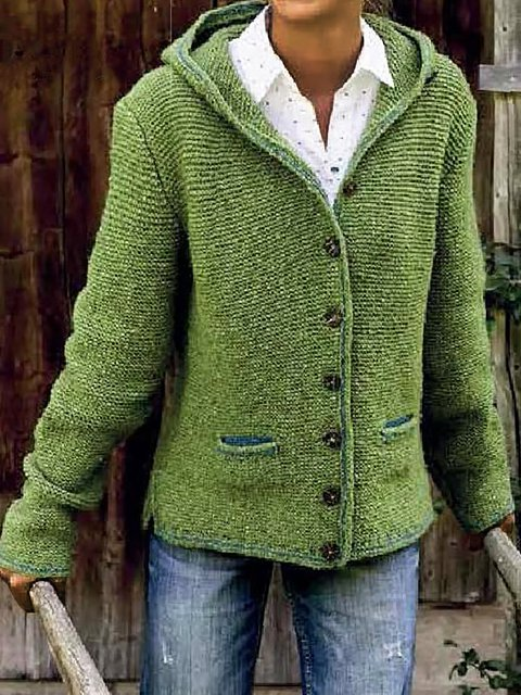 Hooded Short Knitted Sweater Cardigan Coat Fall Winter Outwear Green