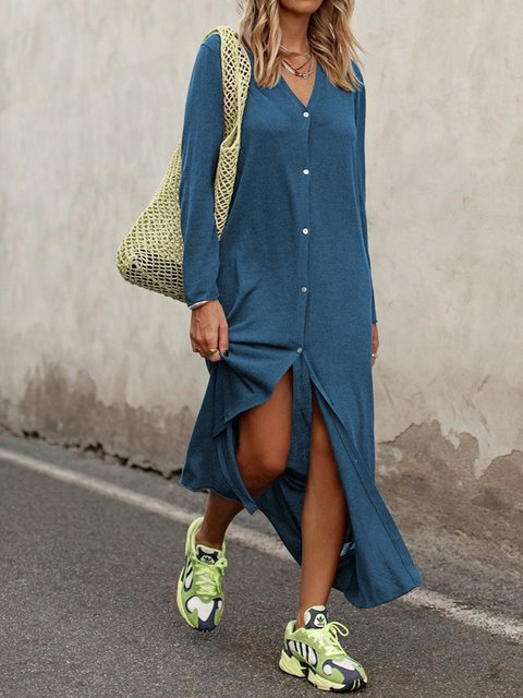 Women Caftan V-Neck Long Sleeves Shift Dresses