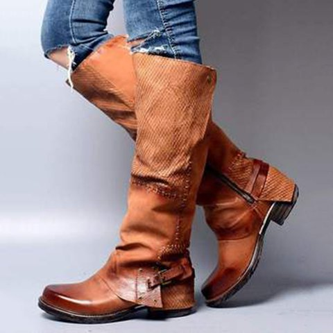 Wome Vintage Ruched Low Heel Fall Boots