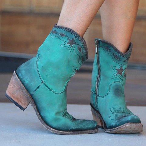 Women's Vintage Thick Zip Heel Booties
