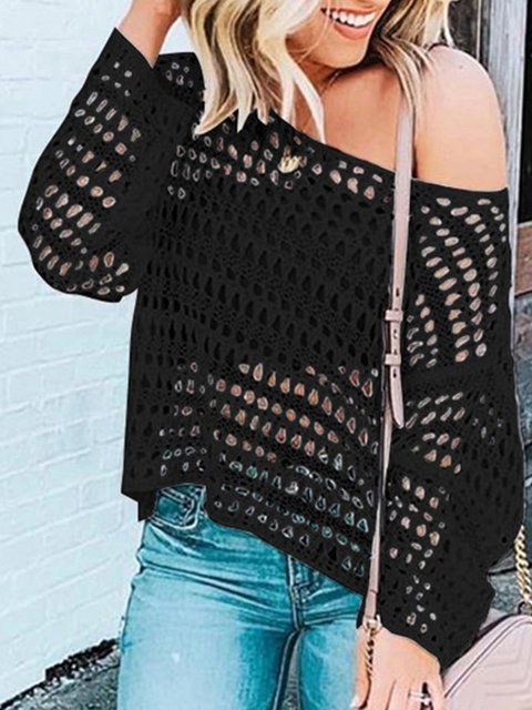 Plus Size Solid Sweater Crew Neck Knitted Tops
