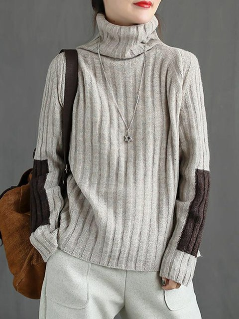Knitted Long Sleeve Solid Casual Sweater