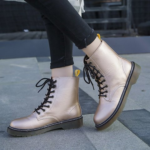 Lace-Up Pu Leather Round Toe Plus Size Martin Boots