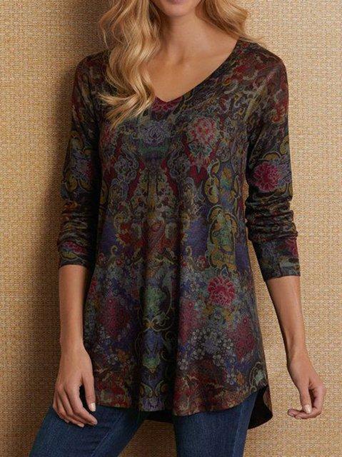 Women Long Sleeve Boho V Neck Plus Size Tops