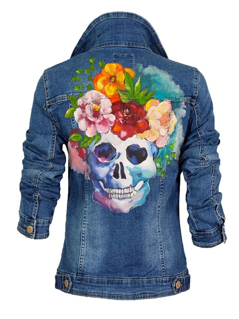 Blue Shirt Collar Floral Polyamide Long Sleeve Jackets