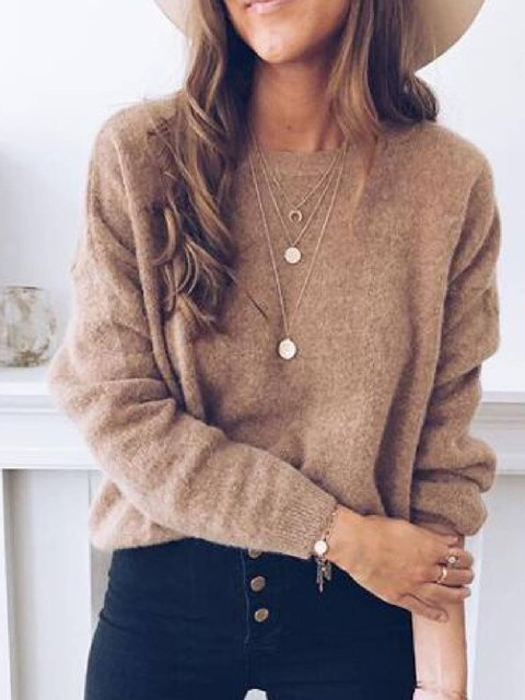Knitted Casual Solid Sweater