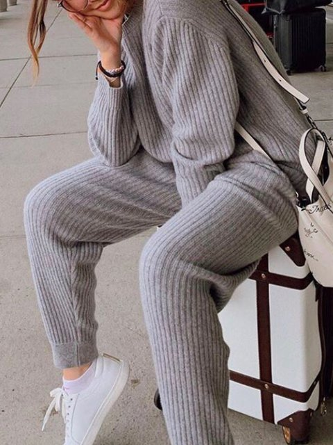 Knitted Plain Long Sleeve Round Neck Suits