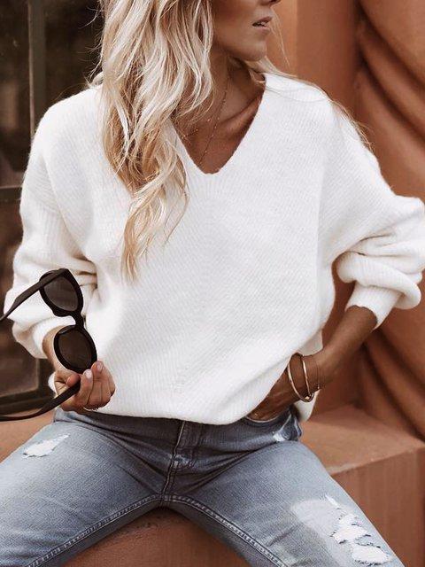 White Casual Plain Shift V Neck Sweater