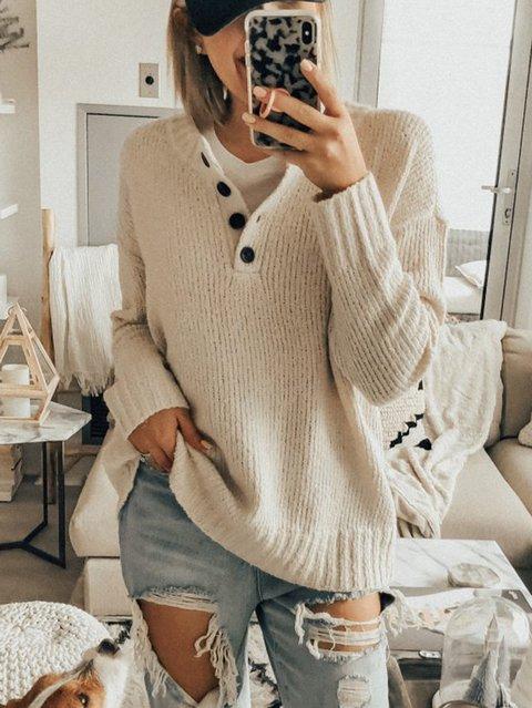 Beige Long Sleeve Casual Sweater