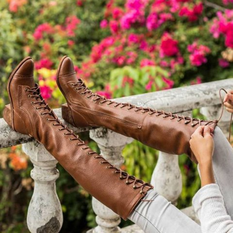 Women Vintage Leather Boot Shoes