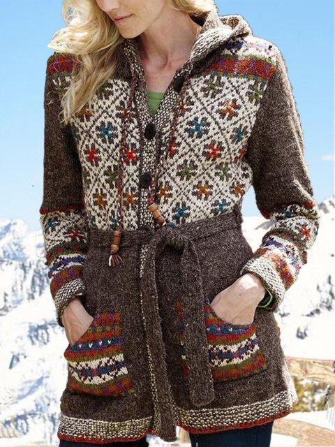 Tribal Printed Hoodie Long Sleeve Casual Outerwear