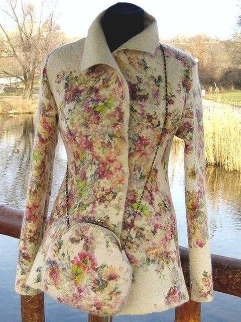 Multicolor Turtleneck Long Sleeve Outerwear