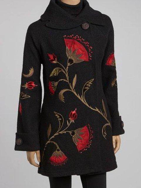 Black Long Sleeve Cotton-Blend Shirt Collar Outerwear