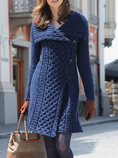 Womens Fall Clothing Deep Blue Women Dresses Knitted Dresses