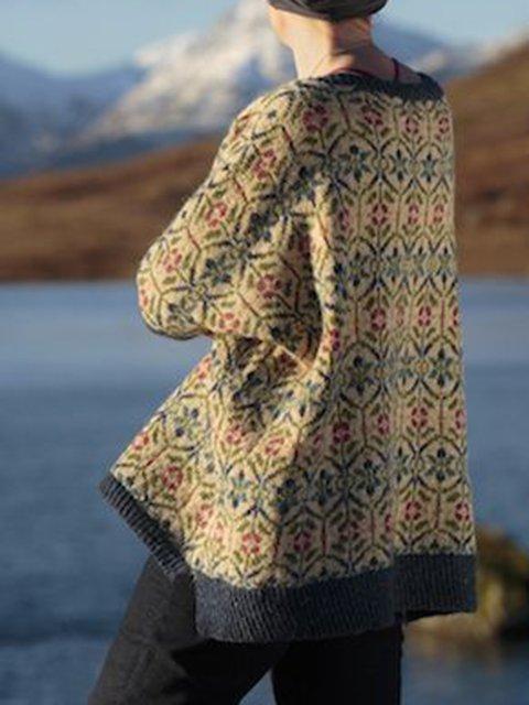 Khaki Long Sleeve Acrylic Sweater