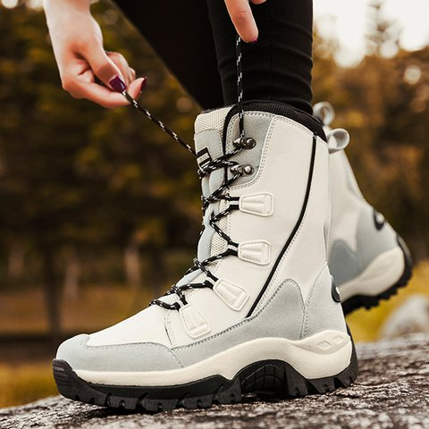 Women Waterproof Warm Snow Boots Lace-Up Pu Winter Flat Heel Shoes