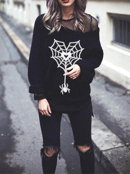 Halloween casual spider sweater