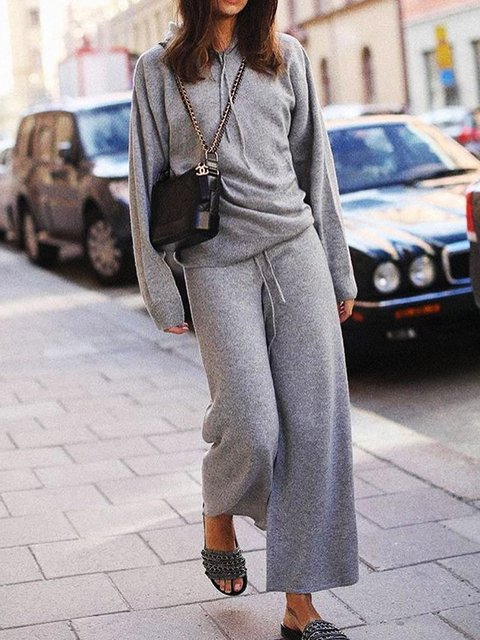 Knitted Long Sleeve Solid Sports Suit Set