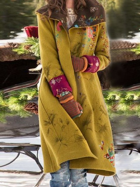 Yellow Floral Long Sleeve Outerwear