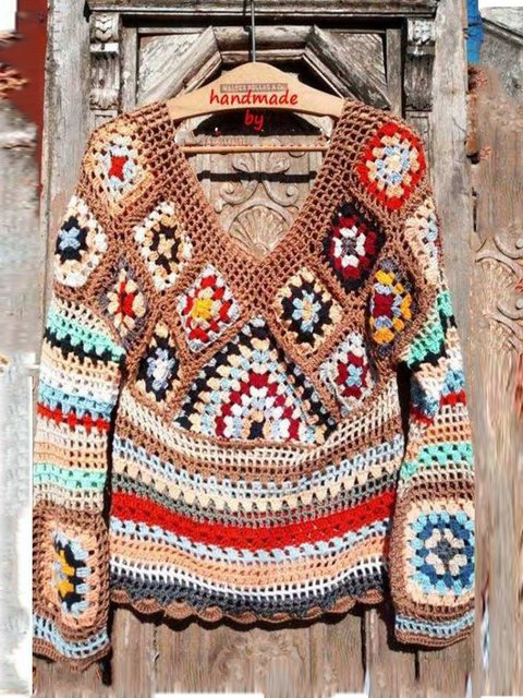 Brown Knitted Printed Long Sleeve Geometric Sweaters