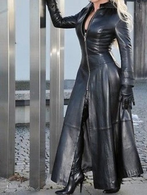 Women Long Zipper Sexy Faux Leather Coat Cool Slim Black Party Trench Dress