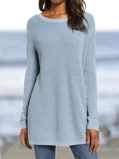 Casual Long Sleeve Solid Cotton Tops