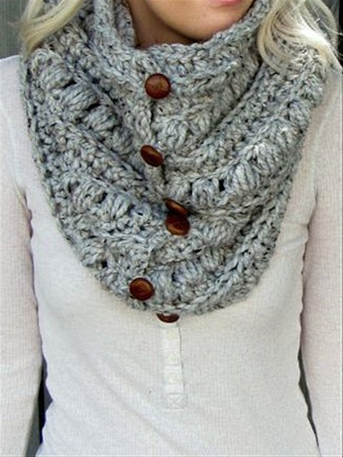 Round Neck Large Size Casual Vintage Daily Outside Autumn Knitted Scarves & Shawls