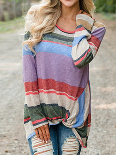 Multicolor Long Sleeve Casual Paneled Shirts & Tops
