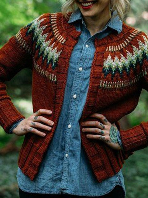 Red Cotton-Blend Plain Casual Outerwear
